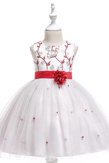 Embroidery Flower Girl Dress First Communion Birthday Party Gown Children Clothes red