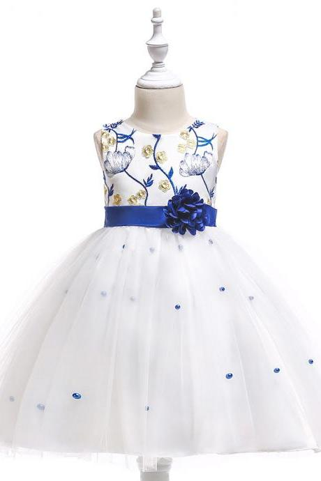 Embroidery Flower Girl Dress First Communion Birthday Party Gown Children Clothes royal blue