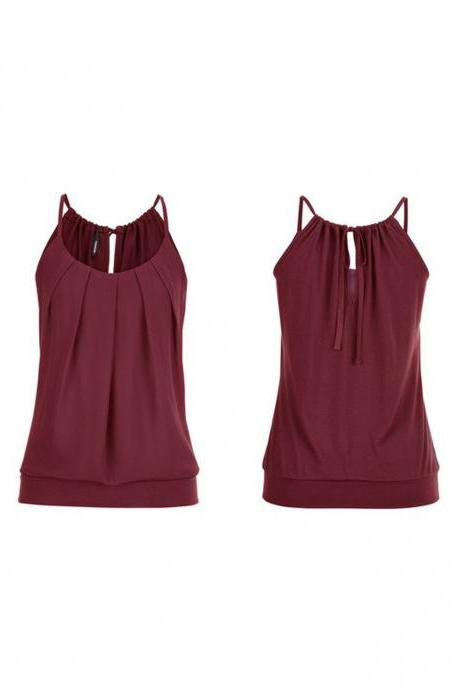 Women Tank Top Summer Casual Ruched Plus Size Loose Sleeveless T Shirts burgundy