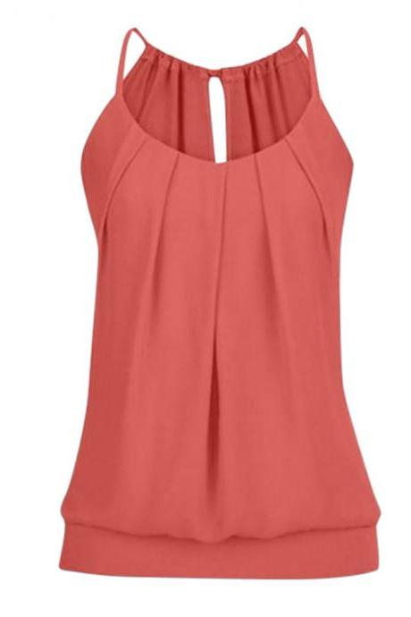 Women Tank Top Summer Casual Ruched Plus Size Loose Sleeveless T Shirts orange