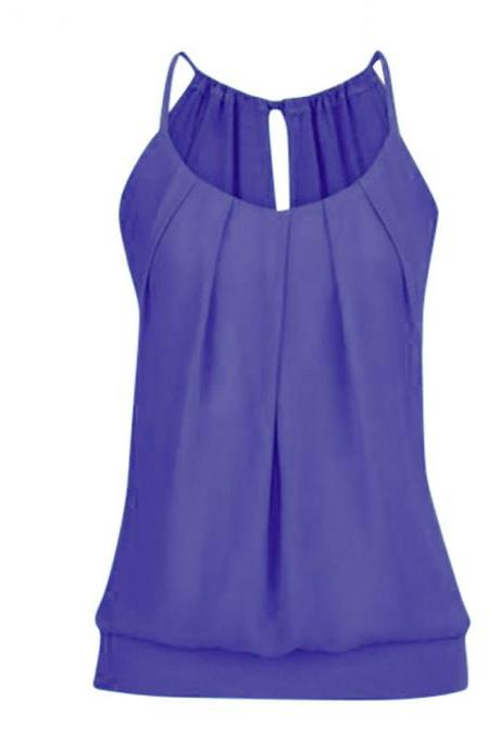 Women Tank Top Summer Casual Ruched Plus Size Loose Sleeveless T Shirts purple
