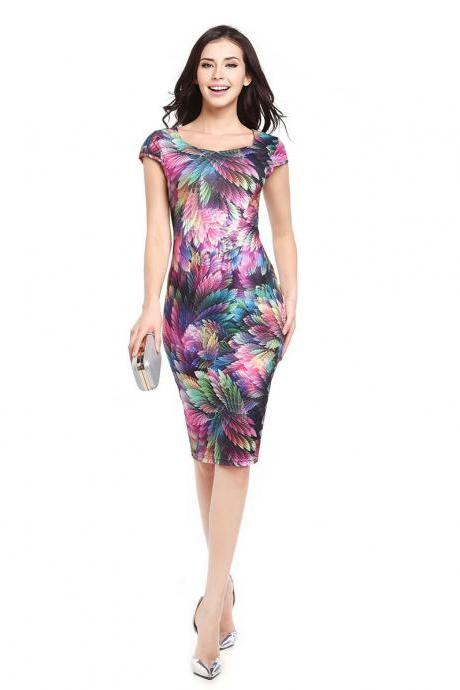 Women Pencil Dress Short Sleeve Floral/Polka Dot Bodycon Slim Work Office Party Dress 729-1