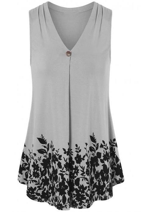 Women Floral Printed Tank Top V Neck Summer Casual Tops Loose Sleeveless T Shirt gray
