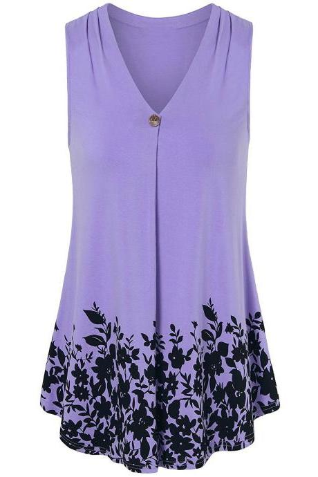 Women Floral Printed Tank Top V Neck Summer Casual Tops Loose Sleeveless T Shirt lilac