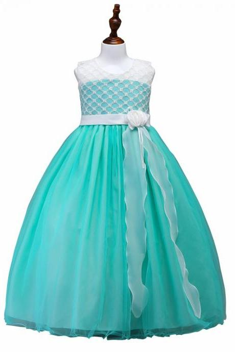 Long Flower Girl Dress Princess Teens Evening Birthday Party Gown Children Clothes aqua