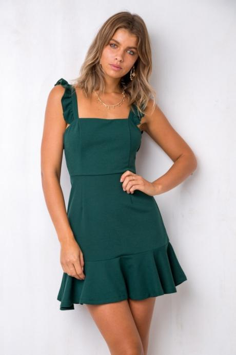 Women Casual Dress Sleeveless Ruffles Summer Beach Mini Club Party Pencil Dress teal
