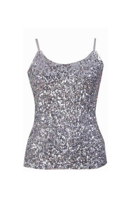 Women Sequined Camis Tank Top Spaghetti Strap Slim Club Party Sleeveless T-Shirt silver
