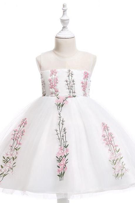 Embroidery Flower Girl Dress Wedding Formal Birthday Party Gown Children Clothes pink