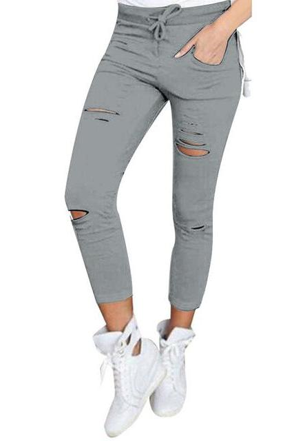 Women Pencil Pants Drawstring High Waist Ripped Holes Casual Skinny Leggings Trousers gray