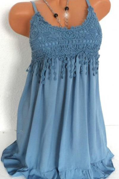 Women Spaghetti Strap Lace Dress Casual Sleeveless Summer Boho Beach Mini Party Sundress blue