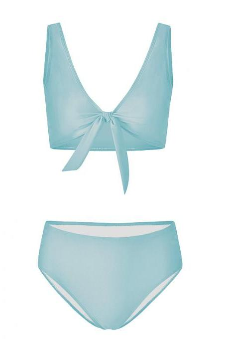Women Bikini Set Summer Deep V Neck Bow Swimsuit Swimwear Two Piece Set Bathing Suit baby blue