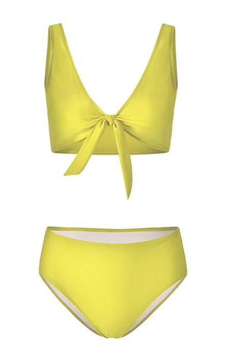 Women Bikini Set Summer Deep V Neck Bow Swimsuit Swimwear Two Piece Set Bathing Suit yellow