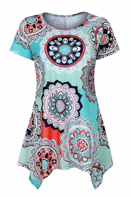 Women Asymmetrical T Shirt Summer Causal Floral Printed Loose Short Sleeve Tees Tank Tops 3#