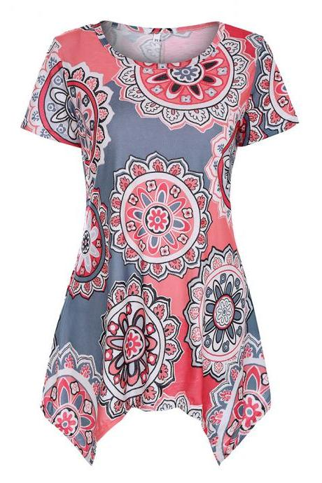 Women Asymmetrical T Shirt Summer Causal Floral Printed Loose Short Sleeve Tees Tank Tops 13#