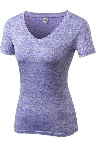 Women Gym Yoga T Shirt V Neck Short Sleeve Quickly Dry Running Sport Fitness Slim Tees Tops lilac