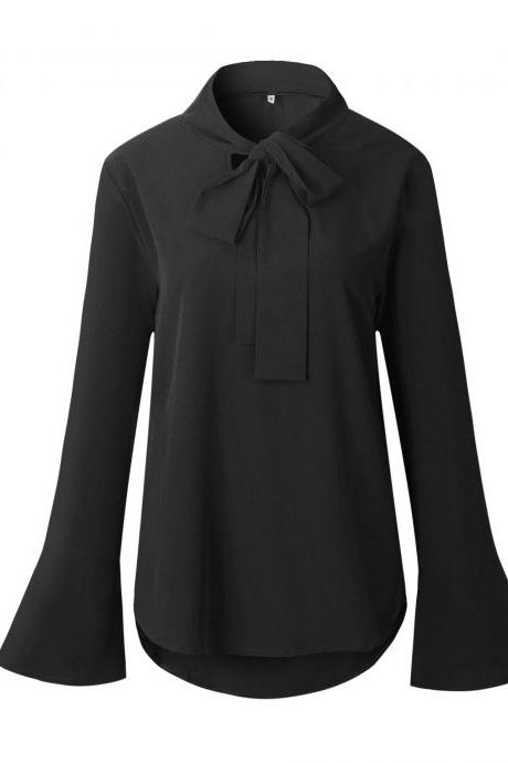 Women Chiffon Blouse Bow Tie Flare Long Sleeve Asymmetrical Hem Casual Loose Tops Shirt black