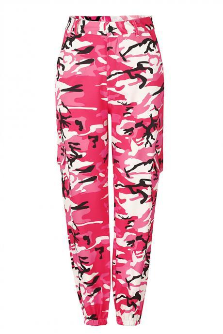 Women Camouflage Harem Pants Casual Loose Jogger Camo Cargo Trousers Sweatpants red