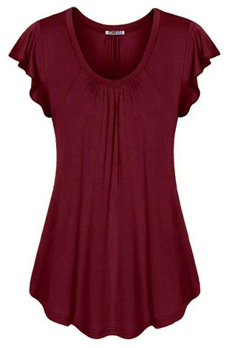 Plus Size Women Sleeveless T-Shirt Summer Ruffles Casual Loose Tank Tops Blouses burgundy