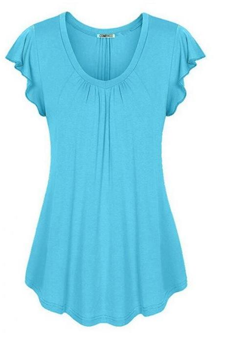 Plus Size Women Sleeveless T-Shirt Summer Ruffles Casual Loose Tank Tops Blouses light blue