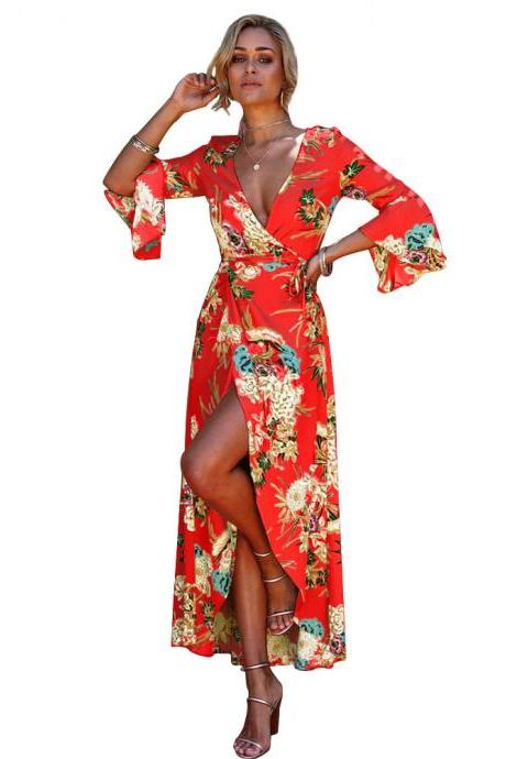 Women Floral Printed Maxi Dress V Neck 3/4 Flare Sleeve Boho Summer Beach Long Dress red