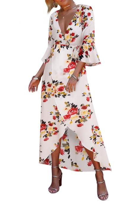 Women Floral Printed Maxi Dress V Neck 3/4 Flare Sleeve Boho Summer Beach Long Dress off white+red floral