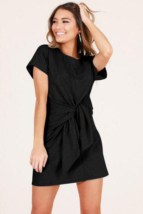 Summer Women Causal Dress Tie Waist Short Sleeve Mini Club Party Dress black