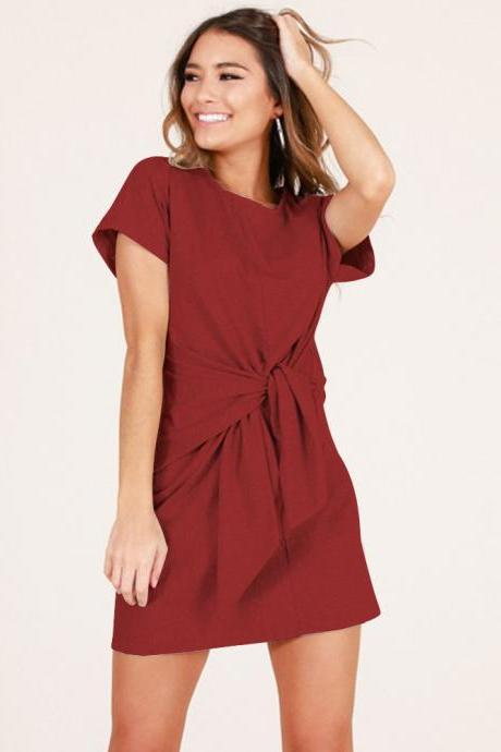 Summer Women Causal Dress Tie Waist Short Sleeve Mini Club Party Dress crimson