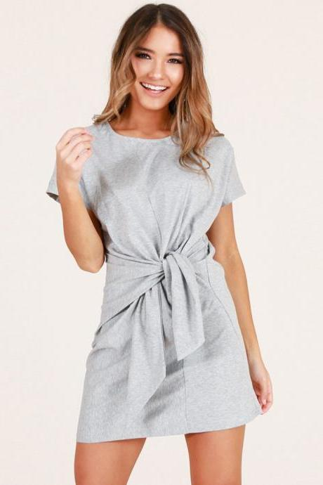 Summer Women Causal Dress Tie Waist Short Sleeve Mini Club Party Dress gray