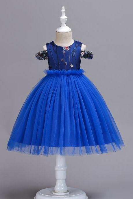 Embroidery Flower Girl Dress Off the Shoulder Wedding Birthday Party Gown Kids Clothes blue