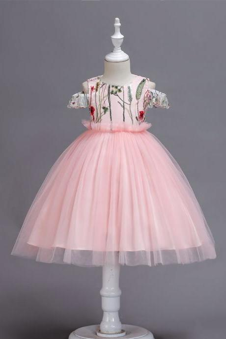 Embroidery Flower Girl Dress Off the Shoulder Wedding Birthday Party Gown Kids Clothes pink