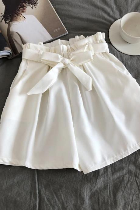 Women Casual Shorts Summer Elastic High Waist Bow Belted Streetwear Loose Wide Leg Shorts off white