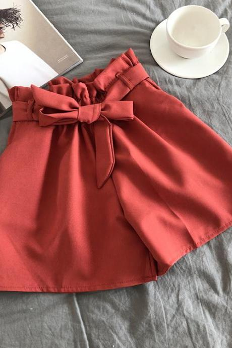 Women Casual Shorts Summer Elastic High Waist Bow Belted Streetwear Loose Wide Leg Shorts red