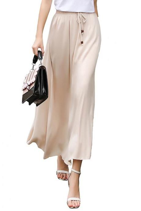 Women Maxi Skirt Summer Fashion Solid Casual Drawstring Elastic Waist Long Pleated Skirt beige