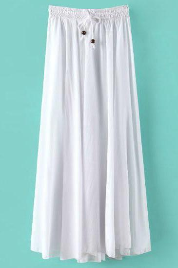 Women Maxi Skirt Summer Fashion Solid Casual Drawstring Elastic Waist Long Pleated Skirt off white