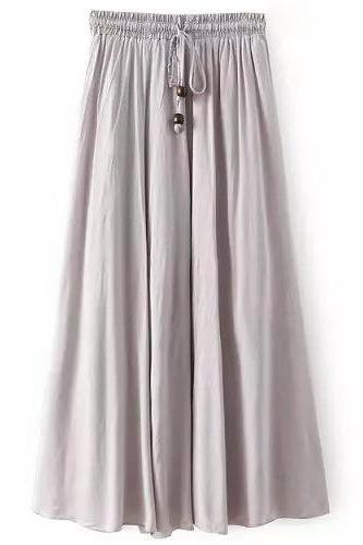 Women Maxi Skirt Summer Fashion Solid Casual Drawstring Elastic Waist Long Pleated Skirt silver