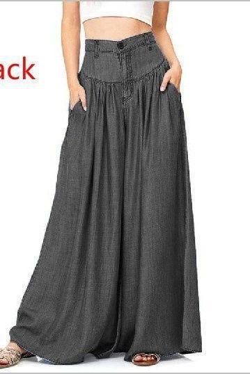 Women Wide Leg Pants High Waist Pockets Casual Loose Plus Size Long Trousers black