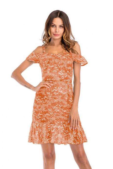 Women Floral Print Dress Summer Ruffle Off Shoulder Spaghetti Strap Casual Mini Beach Dress orange