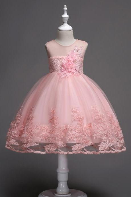 Lace Flower Girl Dress Sleeveless Princess Wedding Birthday Party Wear Kid Clothes pink