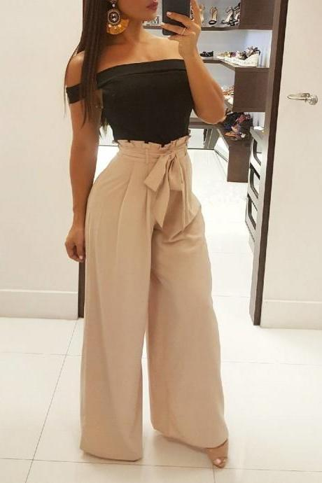 Women Wide Leg Pants High Waist Solid Belted OL Office Work Casual LooseLong Trousers beige