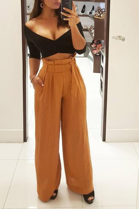 Women Wide Leg Pants High Waist Solid Belted OL Office Work Casual LooseLong Trousers khaki
