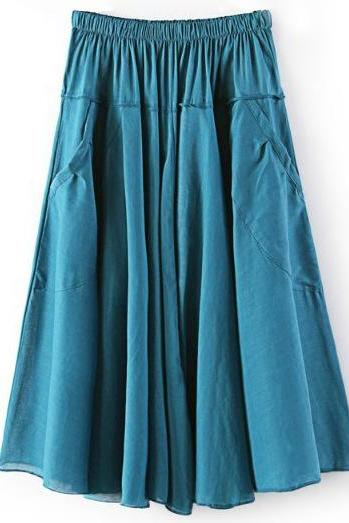 Women A Line Midi Skirt Elastic High Waist Summer Casual Pockets Pleated Skirt teal