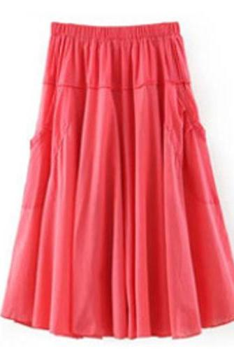 Women A Line Midi Skirt Elastic High Waist Summer Casual Pockets Pleated Skirt watermelon red
