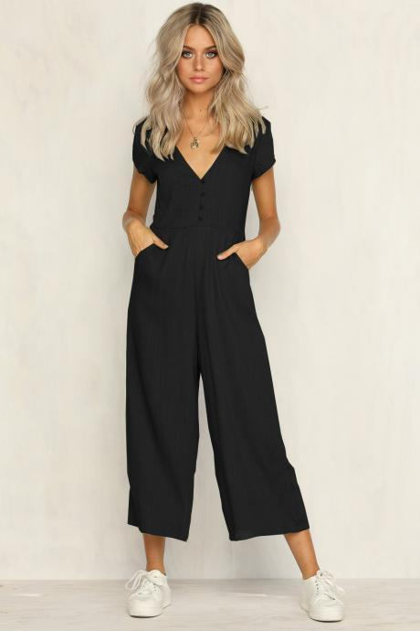 Women Wide Leg Jumpsuit Button Casual Loose V Neck Short Sleeve Summer Rompers Playsuit black