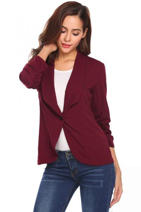 Women Slim Suit Coat 3/4 Sleeve One Button Casual Office Business Blazer Jacket Outwear wine red