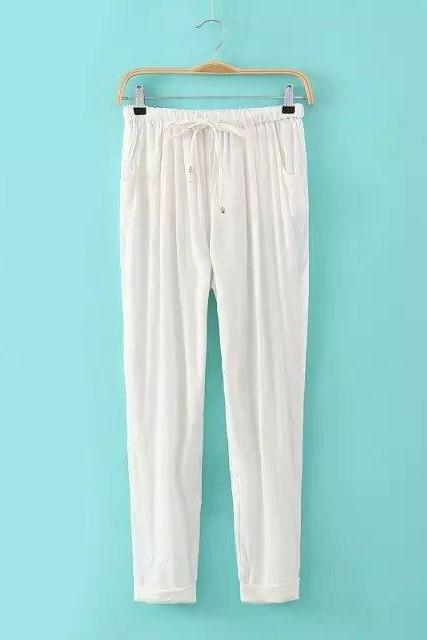 Women Casual Harem Pants Drawstring Elastic Waist Ankle Length Slim Long Trousers Off white