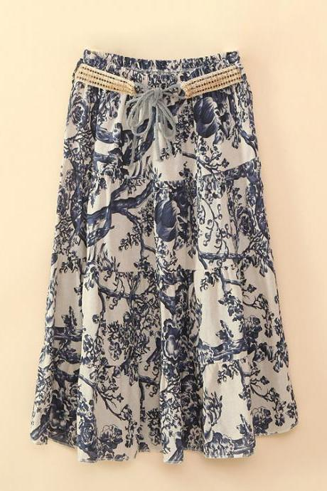 Bohemian Women Midi Skirt Summer Beach Floral Print Belted High Waist Boho Skirt 6#