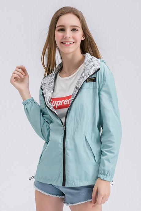 Women Bomber Basic Jacket Spring Fall Pocket Zipper Hooded Two Side Wear Cartoon Print Outwear Loose Coat aqua