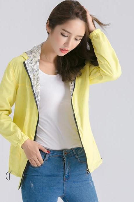 Women Bomber Basic Jacket Spring Fall Pocket Zipper Hooded Two Side Wear Cartoon Print Outwear Loose Coat yellow