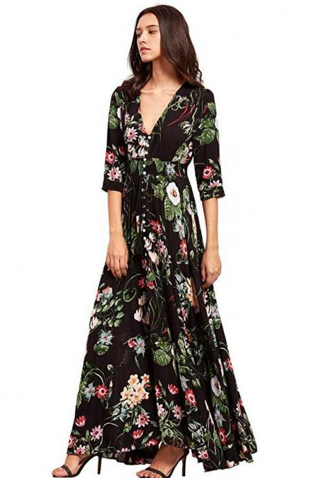 Boho Maxi Dress Women Summer Beach V Neck Short Sleeve Split Floral Printed Long Party Dress black half sleeve
