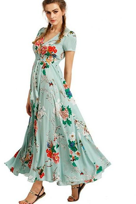 Boho Maxi Dress Women Summer Beach V Neck Short Sleeve Split Floral Printed Long Party Dress green short sleeve
